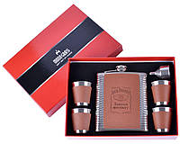 Подарочный набор с Флягой и рюмками в коробке (кожа-металл), фото 1