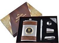 """Подарочный набор """"Ukrane"""" фляга, стопка, лейка, ручка и нож, фото 1"""