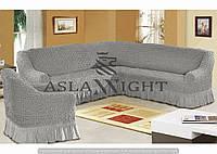 Чехол на угловой диван и одно кресло Серый