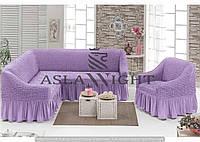 Чехол на угловой диван и одно кресло Сиреневый
