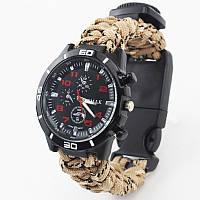 Многофункциональные часы с Паракордом,компасом,свистком и  термометром(альпинист)