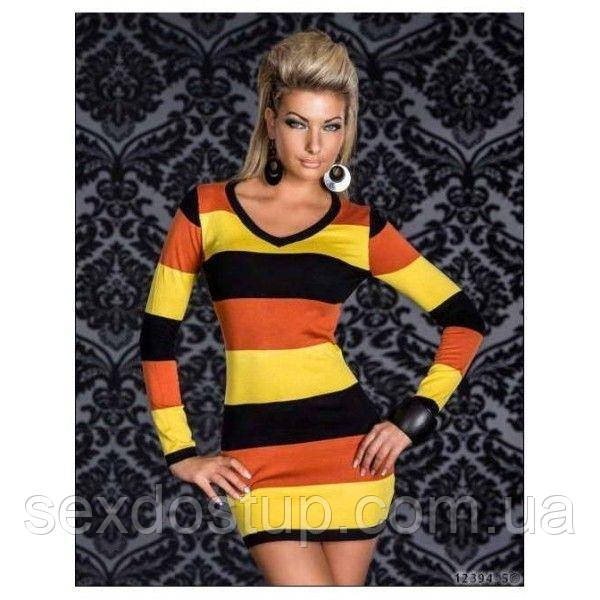 Разноцветное платье в полоску