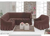 Чехол на угловой диван и одно кресло Шоколадный