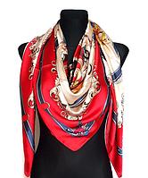 Шелковый платок Фелиция Fashion 135*135 см алый, фото 1