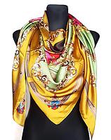 Шелковый платок Фелиция, 135*135 см, горчичный/фисташковый