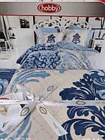 Набор постельного белья,евро размер. в синих оттенках, Hobby poplin. Турция