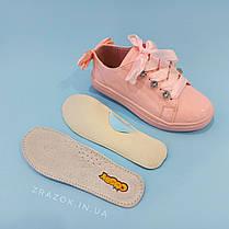 Рожеві кросівки з бантиком кеди з бантом лакові туфлі зі стрічками з супінатором на дівчинку, фото 3