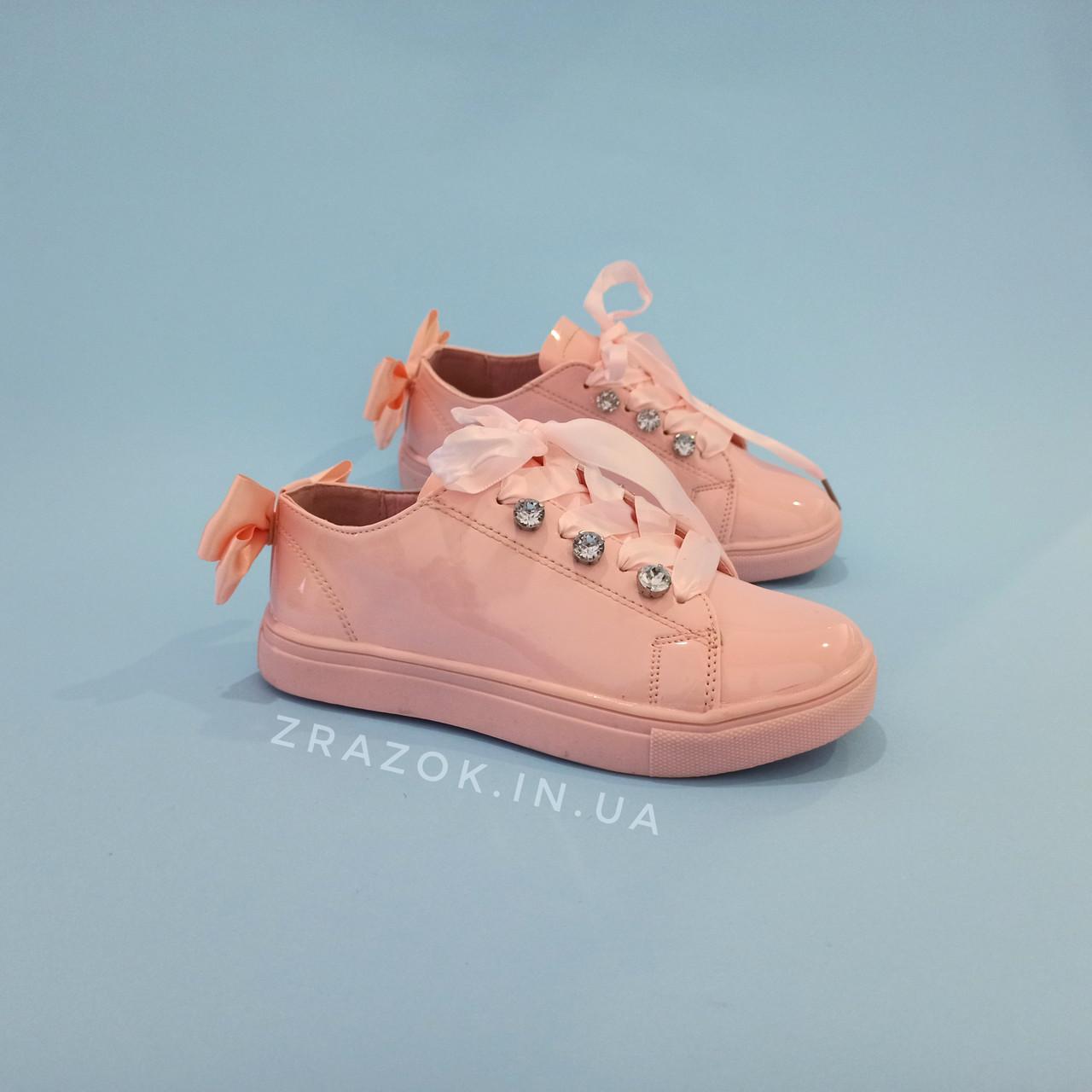 Рожеві кросівки з бантиком кеди з бантом лакові туфлі зі стрічками з супінатором на дівчинку