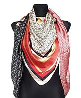 Шелковый платок Шарлотта, 135*135 см, молочный/графит