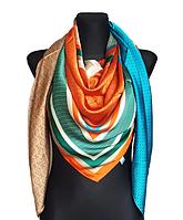 Шелковый платок Шарлотта, 135*135 см, бирюза/терракотовый