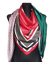Шелковый платок Шарлотта, 135*135 см, изумрудный/алый