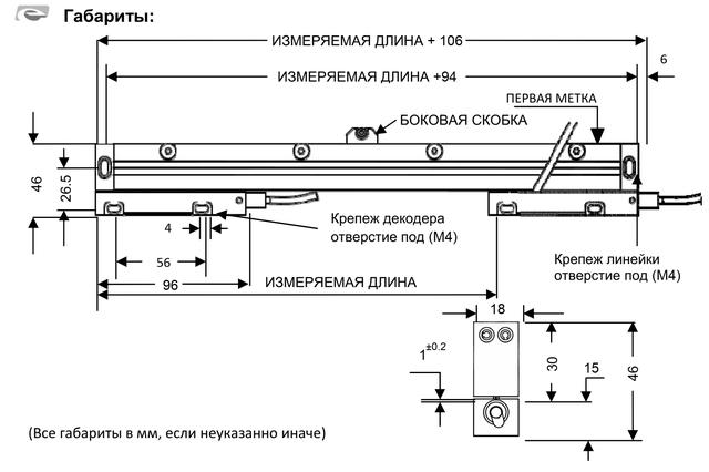 Закрытый магнитный энкодер линейных перемещений MG232 (120 мм 5 мкм 5 вольт RS422)