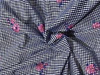 Рубашечная ткань Клетка вышивка