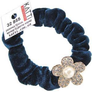 KATTi резинка для волос 32 855 средняя цветная велюровая Цветок со стразами изумрудная, фото 2
