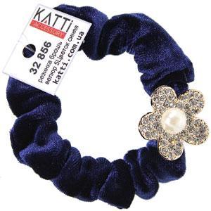 KATTi резинка для волос 32 856 средняя цветная велюровая Цветок со стразами темно синяя