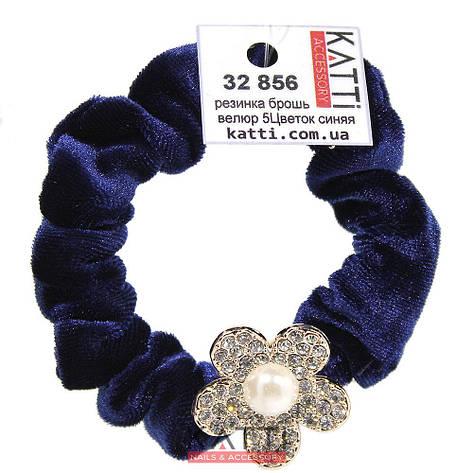 KATTi резинка для волос 32 856 средняя цветная велюровая Цветок со стразами темно синяя, фото 2