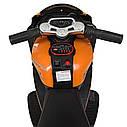 Дитячий електромобіль Мотоцикл M 4135 EL-7, колеса EVA, музика, світло, шкіряне сидіння, помаранчевий, фото 3