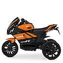 Дитячий електромобіль Мотоцикл M 4135 EL-7, колеса EVA, музика, світло, шкіряне сидіння, помаранчевий, фото 4