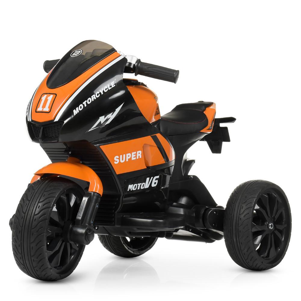 Дитячий електромобіль Мотоцикл M 4135 EL-7, колеса EVA, музика, світло, шкіряне сидіння, помаранчевий