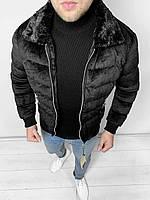 Мужская зимняя короткая куртка на меху. Брутальная черная курточка.
