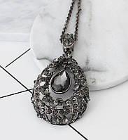 Длинная цепочка женская с кулоном с серыми камнями код 1708