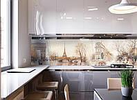 Кухонный фартук Ретро (скинали фотопечать наклейки для кухни, Эйфелева башня Париж)