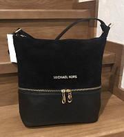 Женская замшевая сумка Mісhаеl Коrs, цвет черный в стиле Майкл Корс MK