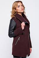 Женское стильное пальто с кожаным декором, цвета в ассортименте