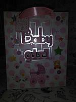 Пакет подарочный розовый  Baby Girl  ,накладные элементы , присыпка - блестки, 26*32*12.5 см   07412