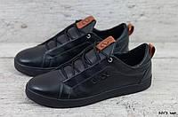 Мужские кожаные кеды Ecco (Реплика) (Код: 10/1 чер ) ►Размеры [40,41,42,43,44,45], фото 1