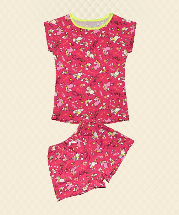 Пижама для девочки Единорог малина: футболка + шорты стрейч-кулир