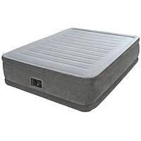 Надувная кровать велюровая Intex 64412 с электронасосом 191х99х46 см