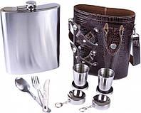 Подарочный набор фляга из нержавеющей стали в чехле 2 стопки рюмки столовые приборы вилка нож ложка 1400 мл