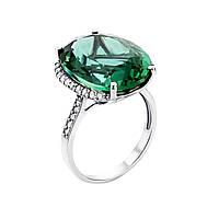 Серебряное кольцо Канди с зеленым кварцем и фианитами 000121474 17.5 размер