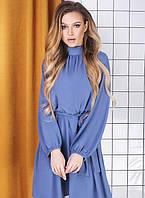 Платье хлопковое весеннее голубое мини с длинным рукавом k-64143 G&M, XL, 48, 42-44, 46-48, демисезонное, креп-жатка, джинс