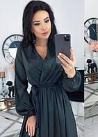 Платье мини шелковое с декольте романтическое с длинным рукавом однотонное черное k-64155