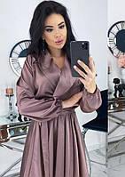 Платье мини шелковое с декольте романтическое с длинным рукавом однотонное кофейное k-64156