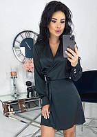Платье мини шелковое романтическое с длинным рукавом однотонное черное k-64159