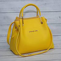 Женская mini сумка-шоппер Mісhаеl Коrs цвет жёлтый (в стиле Майкл Корс) с отстёгивающейся косметичкой