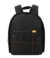 Фоторюкзак с карманом универсальный противоударный, черный цвет, подкладка оранжевая