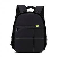 Фоторюкзак с карманом универсальный противоударный, черный цвет, подкладка зеленая