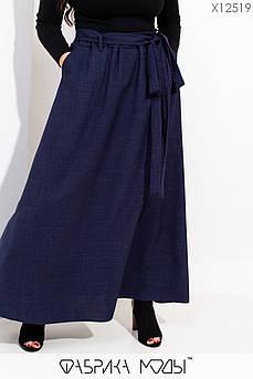 Длинная юбка клеш с высокой талией на резинке, съемным поясом со шлевками X12519