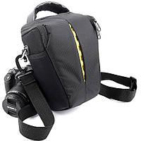 Сумка для фотоаппарата универсальная противоударная черная с жёлтым