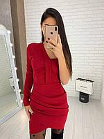 Трикотажное мини-платье с одним рукавом, фото 1
