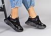 Кросівки жіночі чорні з натуральної замші на товстій підошві
