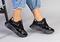 Кросівки жіночі чорні з натуральної замші на товстій підошві, фото 1