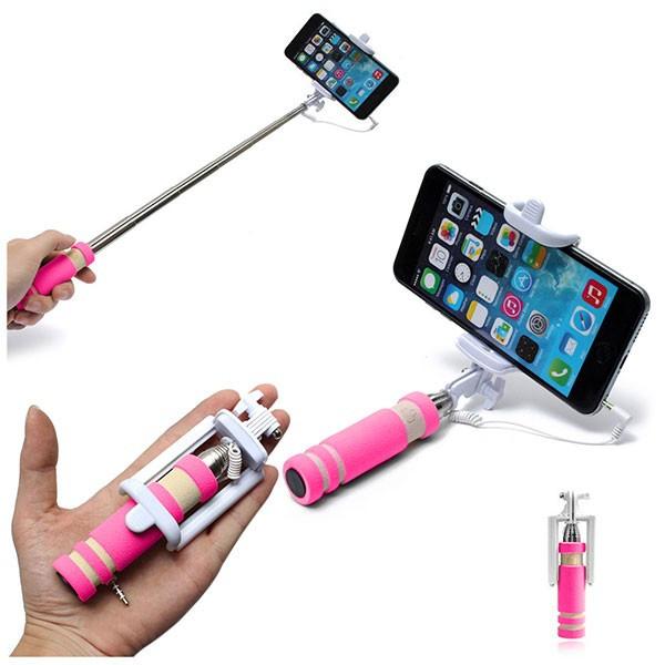 Телескопический Mini монопод для селфи Selfie Mini with AUX розовый