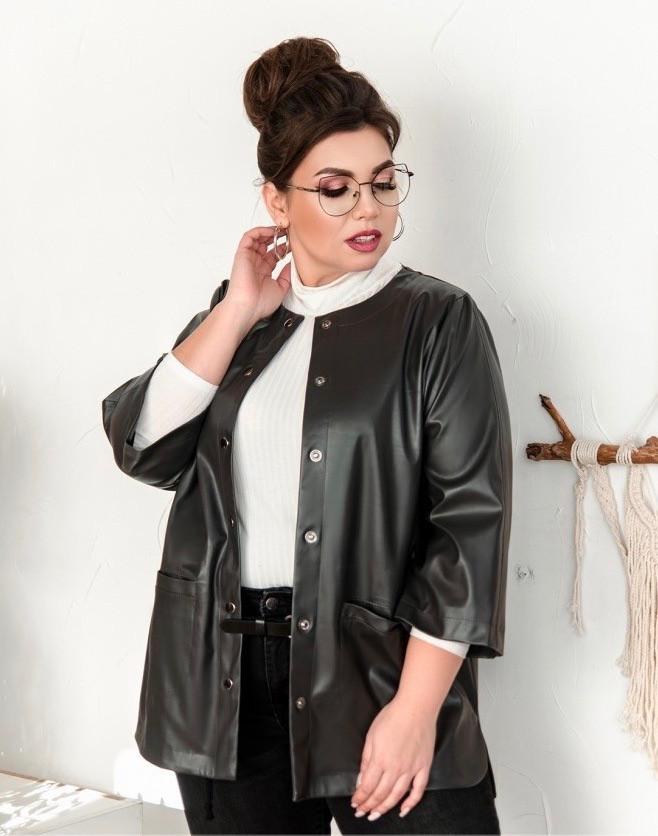 Стильна куртка великого розміру з декоративними клапанами Розміри: - 50-52,54-56,58-60,62-64