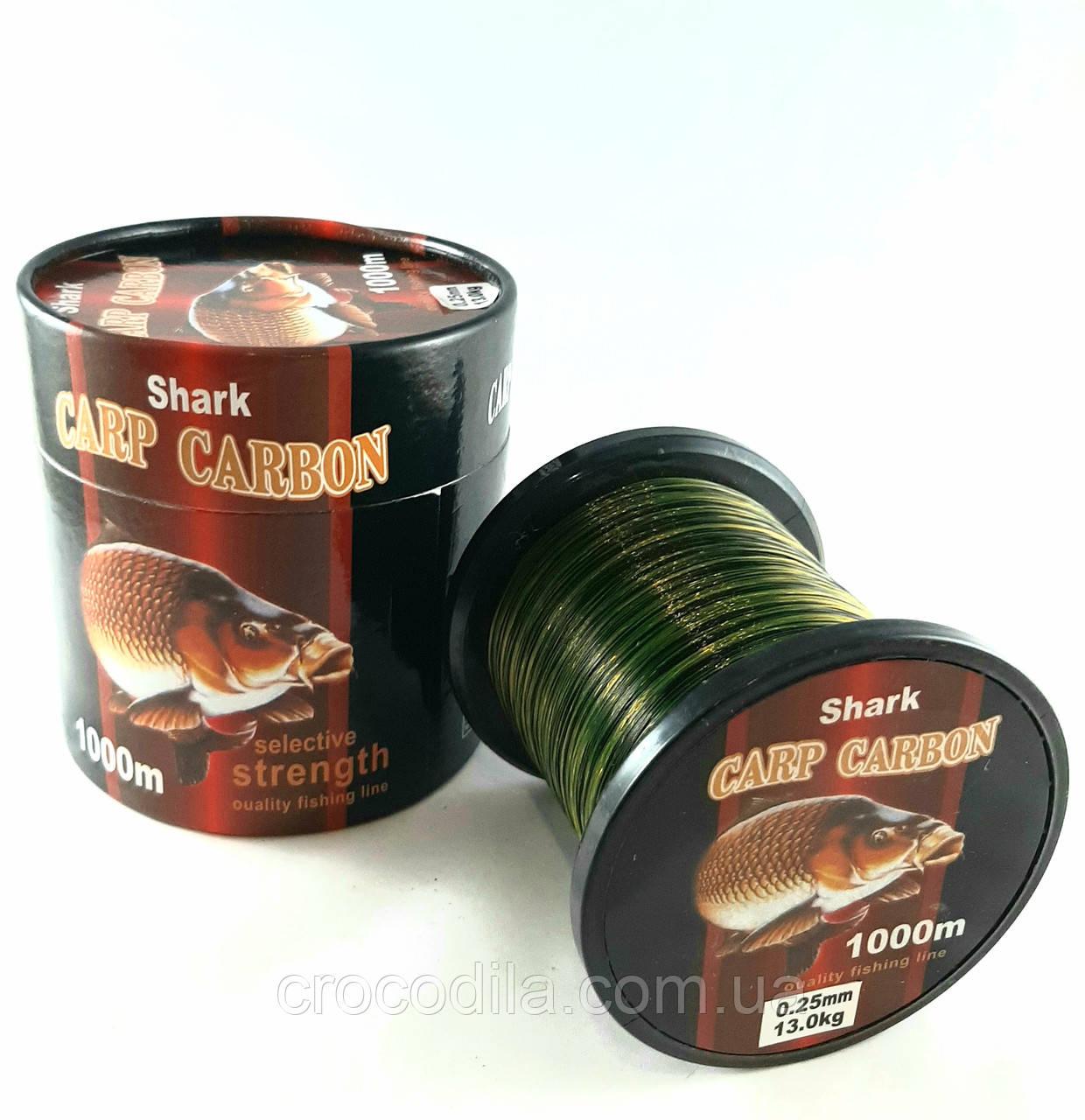 Леска карповая Shark Carbon 0.25 мм 1000 метров черно-зеленая