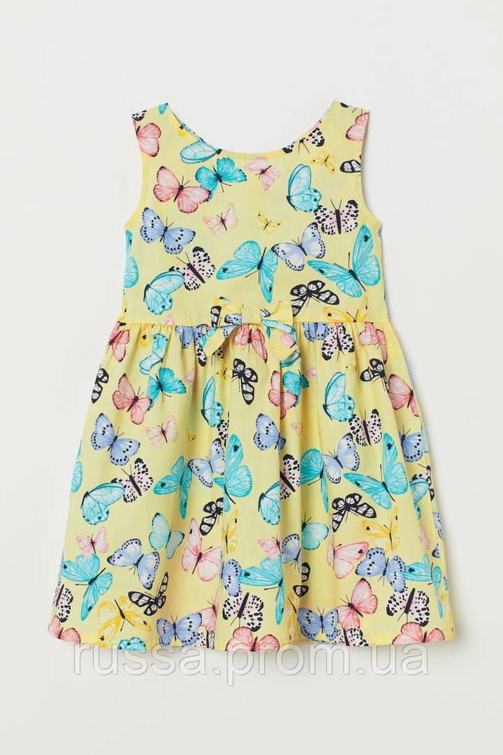 Яркое поплиновое платье с пышной юбочкой Бабочки для девочки